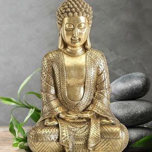 Sitting Buddha Figurine in Gold/Brass Finish